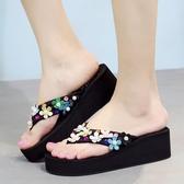 夏季厚底涼拖鞋 沙灘鞋拖鞋夾腳坡跟人字拖鞋《小師妹》sm998