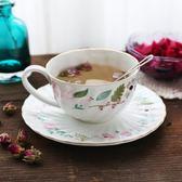 歐式高骨瓷精美陶瓷咖啡杯碟套裝 小碎花田園風英式下午茶杯 挪威森林
