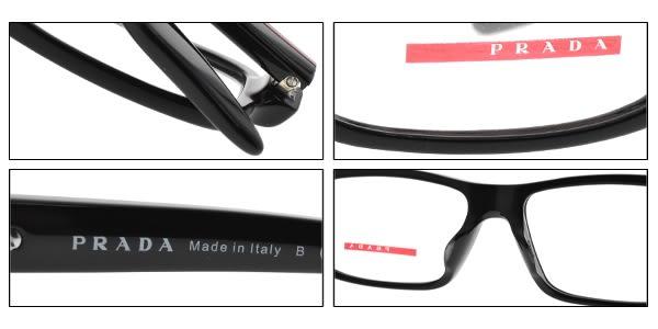 PRADA光學眼鏡 VPS01GF 1AB1O1 (亮黑) 簡約百搭方款 眼鏡框 # 金橘眼鏡