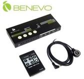 【超人生活百貨】BENEVO 4埠VGA影音切換器 BVAS401KIT 自動/按鍵/遙控切換 支援2.1聲道音效
