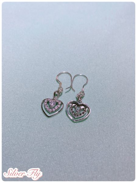 《 SilverFly銀火蟲銀飾 》微細珠寶鑲工系列-愛心純銀耳環