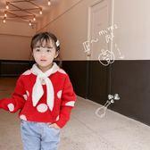 童裝女童毛衣寶寶貂絨領結毛衣2019冬新款百搭淑女紅色針織毛衣