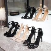高跟涼鞋夏季新款一字扣帶涼鞋女細跟露趾氣質高跟鞋真皮女鞋小碼 限時熱賣