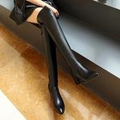 長靴-純色百搭小尖頭性感顯瘦真皮女過膝靴71ab4【巴黎精品】