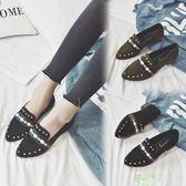 低跟鞋 正韓豆豆鞋柳釘尖頭一腳蹬懶人鞋平底低跟百搭單鞋
