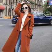 2018新款韓版大衣中長款冬季赫本風森系毛呢大衣