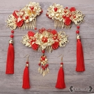 新娘髮飾 秀禾服頭飾復古中式結婚鳳冠流蘇中國風古裝頭飾套裝 - 雙十二交換禮物