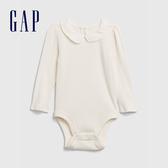 Gap嬰兒 舒適柔軟娃娃領長袖包屁衣 616391-象牙白