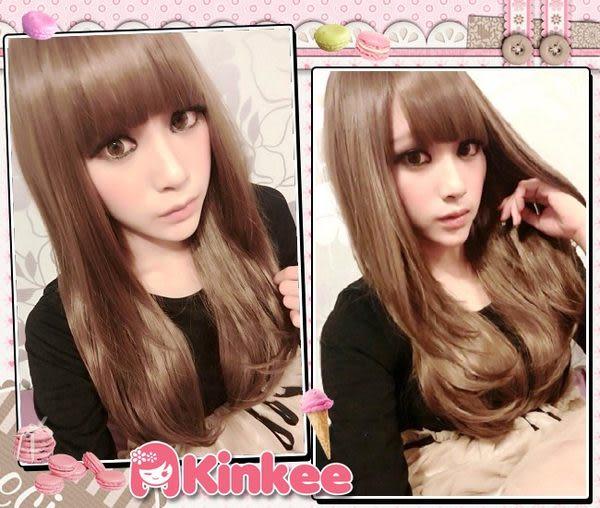 *╮Kinkee假髮╭*威玲示範 學院風Girl 清新小臉修飾耐熱中長髮微彎假髮【K0096】