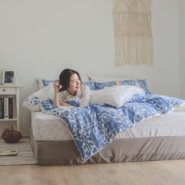 純棉 床包被套組(薄) 雙人【Hazel】ikea風 100%精梳棉 翔仔居家