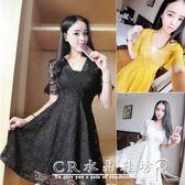 夏季韓版夜店女裝性感低胸V領收腰顯瘦短袖蕾絲A字洋裝 『CR水晶鞋坊』
