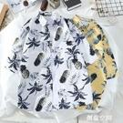 ins很仙的情侶襯衣設計感港風寬鬆chic夏威夷男女短袖沙灘花襯衫 創意空間