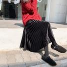 金絲絨半身裙 金絲絨半身裙女秋冬季中長款高腰百褶裙a字裙顯瘦長裙子 唯伊時尚