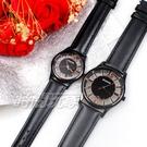 mono 羅馬 鏤空 精美時尚 設計美學 藍寶石水晶 真皮錶帶 小羊皮 對錶 5003B鏤槍玫大+5003B鏤槍玫小