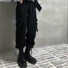 褲子女2021新款秋冬韓版ins黑色束腳長褲寬鬆工裝高腰運動休閒褲 伊蘿