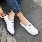 真牛皮小白鞋女2021新款板鞋韓版平底懶人鞋一腳蹬孕婦護士鞋軟底 快速出貨