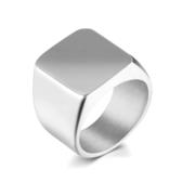 316L醫療鋼 方形光面 寬版戒指-銀 防抗過敏 不退色