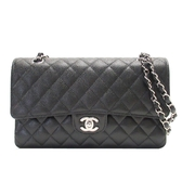 CHANEL 香奈兒 黑色荔枝紋牛皮銀釦雙蓋肩背包 Classic Double Flap Bag【BRAND OFF】