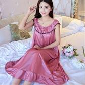 睡裙 (210斤內可穿)睡裙女夏季冰絲加肥加大寬鬆長款睡衣女大碼家居服 中秋節