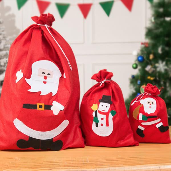 【BlueCat】聖誕老公公發禮物紅色裝飾束口袋 禮物袋 (小號)