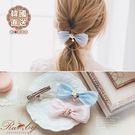 髮飾 韓國直送花朵水鑽珍珠蝴蝶結髮夾-R...