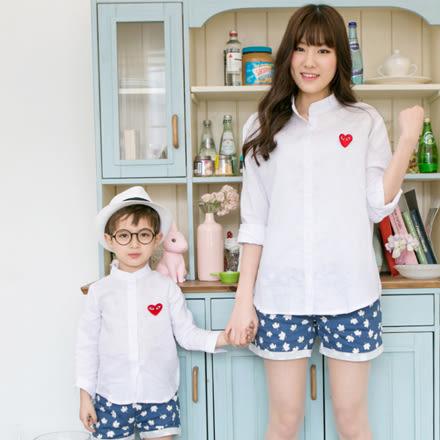 韓版素面方格紋襯衫親子裝 (小孩)
