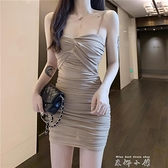 2021蹦迪女裝性感黑色抹胸網紗吊帶裙包臀褶皺打底緊身洋裝女夏