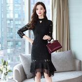 中大尺碼長袖洋裝 女裝修身顯瘦中長款改良式旗袍裙 蕾絲洋裝連身裙 超值價