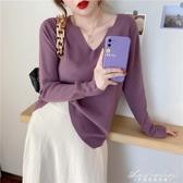 溫柔風針織衫秋季新款女裝V領毛衣寬鬆外穿2020早秋冬上衣打底衫 黛尼時尚精品