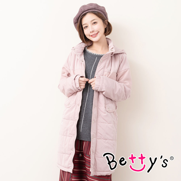 betty's貝蒂思 小貝羊輕量長版連帽外套(粉色)