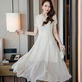 美之札[19828-QF]中大尺碼*綁帶蝴蝶結領大裙襬圓點雪紡度假長洋裝