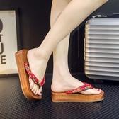 夏季木拖鞋女木屐高跟日式木屐人字木鞋 木屐