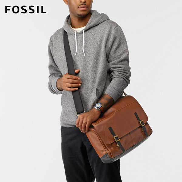 FOSSIL Defender 褐色真皮郵差包 MBG9312222
