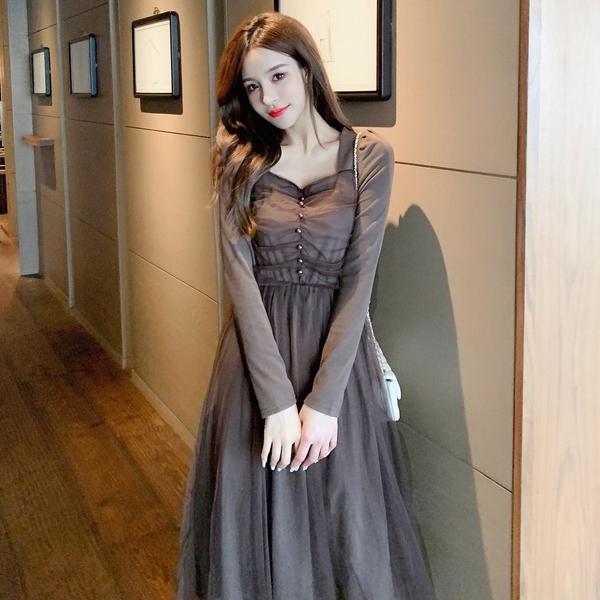 出清388 韓國風氣質收腰網紗拼接長版顯瘦長袖洋裝