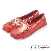 XES 全真皮 造型蝴蝶鞋飾流蘇樂福鞋 學院風  _紅色