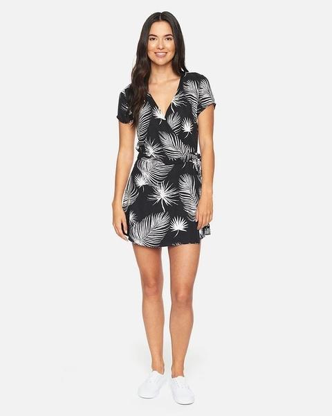 HURLEY|女 WAIMEA WRAP DRESS BLACK (PALM) 洋裝-(花色)