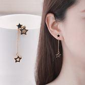 【NiNi Me】韓系耳環 百搭鏤空星星水鑽不對稱耳環 耳環 N0015