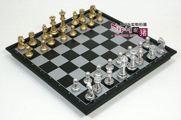 高檔國際象棋磁性便攜西洋棋折疊棋盤 金銀色中號66mm