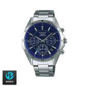 WIRED SEIKO副牌 太陽能藍色三眼碼表鋼帶錶 44mm AY8027X1 VR42-0AB0B | 名人鐘錶