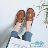 英倫風小皮鞋女鞋學院學生樂福鞋女金屬方扣平底黑色工作鞋單鞋女
