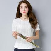 短袖T恤女裝2019夏裝新款修身顯瘦百搭文藝刺繡棉麻上衣白色體恤