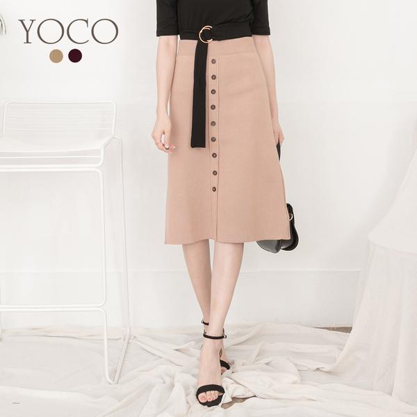 東京著衣【YOCO】YOCO-氣質取勝排釦腰鬆緊針織A字長裙(182512)
