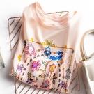 2021新款夏季真絲緞面短袖t恤女印花桑蠶絲韓版寬鬆百搭顯瘦上衣 依凡卡時尚