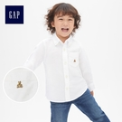 Gap男嬰幼童 布萊納小熊刺繡純棉兒童長袖襯衫 911790-羽白色
