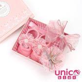 UNICO 嬰兒甜美粉橘彌月禮盒/髮帶襪子組合