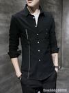 襯衫 黑色襯衫男士長袖青年春秋帥氣休閒外套襯衣男裝韓版寬鬆上衣潮流 星河光年
