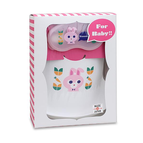 AKACHAN阿卡將 Yummy! 小兔餐用圍兜+離乳研磨器禮盒