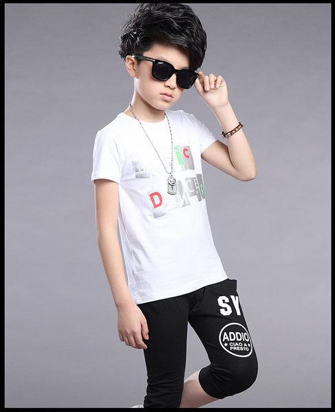 衣童趣♥韓版男童 個性字母圓領上衣+休閒七分褲 兩件式套裝組合 休閒運動服套裝