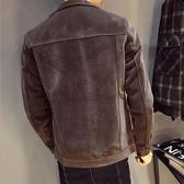 2018冬季潮男裝短款絨料夾克衫男士修身加厚外套小伙保暖外衣加棉