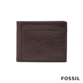 FOSSIL NEEL 真皮系列多卡兩折短夾-咖啡色